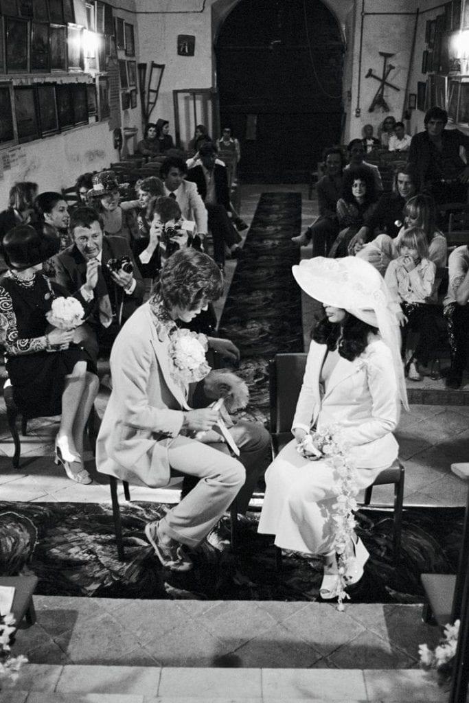 Mick Jagger & Bianca Jagger in their wedding in Saint Tropez