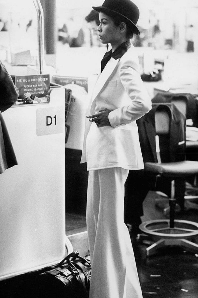 Bianca Jagger in white suit