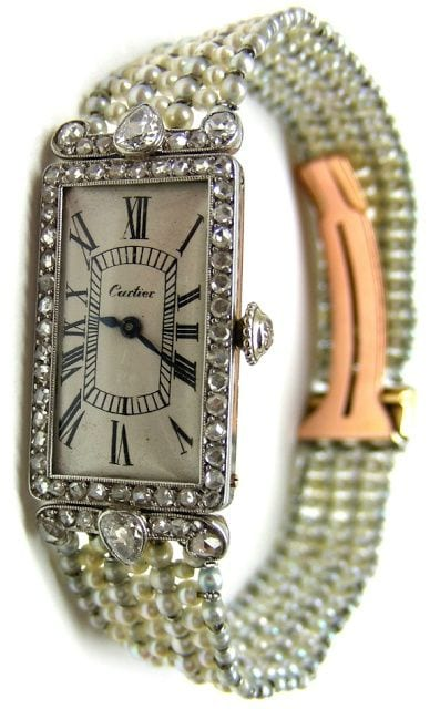 Cartier pearl and diamond dress watch, circa 1905