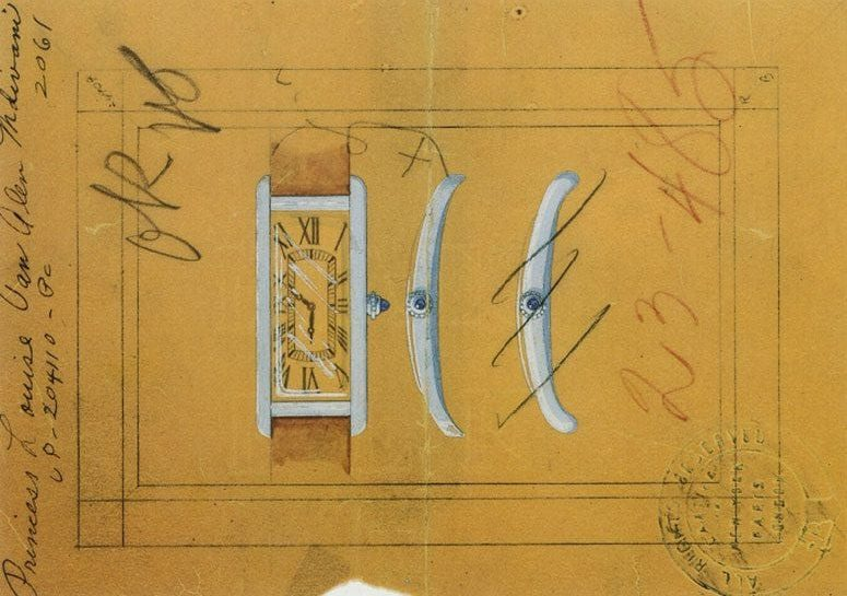 Drawing of the Tank Cintrée watch designed for Princess Mdivani, the wife of Louis Van Allen, 1935. Credit- Archives Cartier New York © Cartier