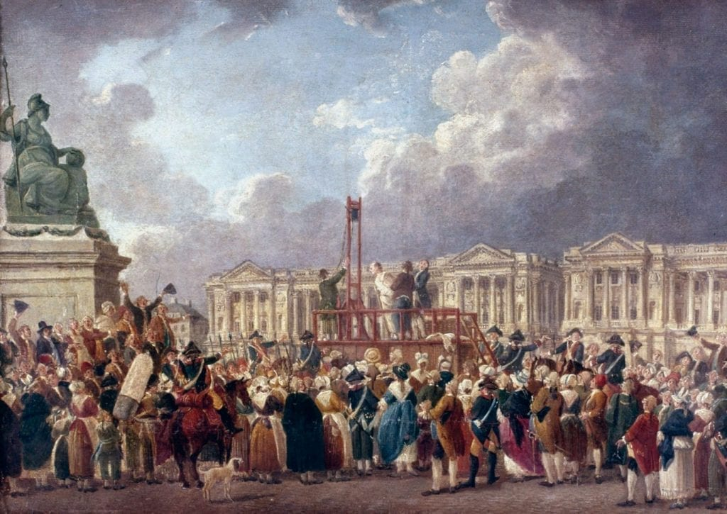 An execution by guillotine during the Reign of Terror, depicted in Une Exécution capitale, place de la Révolution, oil on paper mounted on canvas by Pierre-Antoine Demachy, c. 1793